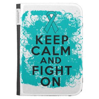Ovarian Cancer Keep Calm and Fight On Kindle Folio Case