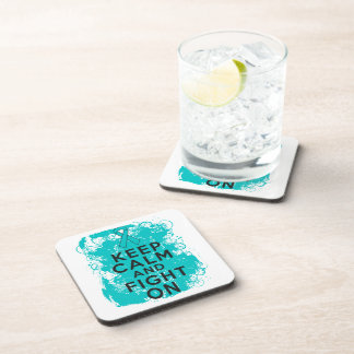 Ovarian Cancer Keep Calm and Fight On Drink Coaster
