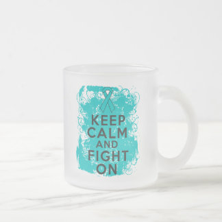 Ovarian Cancer Keep Calm and Fight On Frosted Glass Coffee Mug