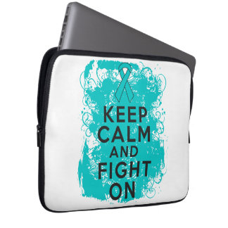 Ovarian Cancer Keep Calm and Fight On Laptop Computer Sleeves