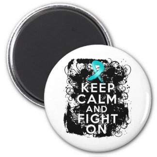 Ovarian Cancer Keep Calm and Fight On Fridge Magnets