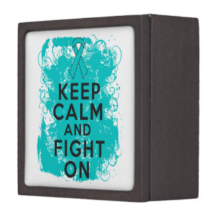 Ovarian Cancer Keep Calm and Fight On Premium Gift Box