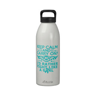 Ovarian Cancer Keep Calm Fight Like A Girl Reusable Water Bottles