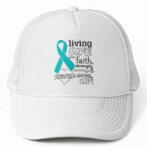 Ovarian Cancer Living Life With Faith Trucker Hat