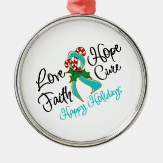 Ovarian Cancer Love Hope Holidays Metal Ornament