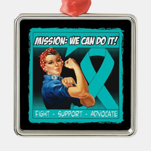 Ovarian Cancer Mission We Can Do It Square Metal Christmas Ornament