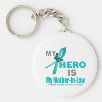 Ovarian Cancer My Hero is My Mother-in-Law Keychain