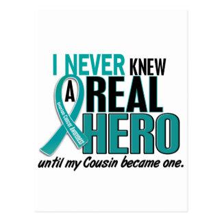 Ovarian Cancer NEVER KNEW A HERO 2 Cousin Postcard