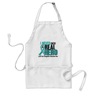 Ovarian Cancer NEVER KNEW A HERO 2 Daughter Adult Apron