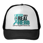 Ovarian Cancer NEVER KNEW A HERO 2 Daughter Trucker Hat