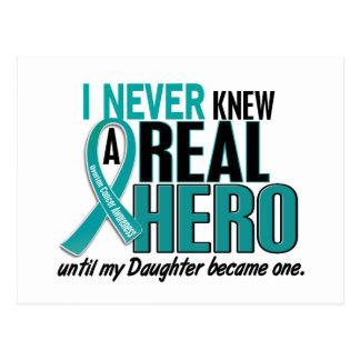 Ovarian Cancer NEVER KNEW A HERO 2 Daughter Postcard