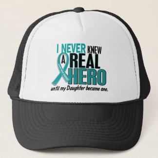 Ovarian Cancer NEVER KNEW A HERO 2 Daughter Trucker Hat