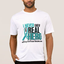 Ovarian Cancer NEVER KNEW A HERO 2 Girlfriend T-Shirt