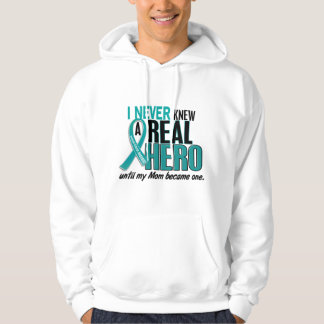 Ovarian Cancer NEVER KNEW A HERO 2 Mom Hooded Pullover
