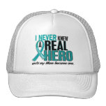 Ovarian Cancer NEVER KNEW A HERO 2 Mom Trucker Hat
