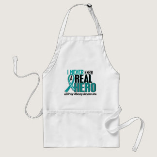 Ovarian Cancer NEVER KNEW A HERO 2 Mommy Adult Apron