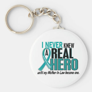 Ovarian Cancer NEVER KNEW A HERO 2 Mother-In-Law Keychain