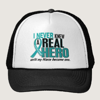 Ovarian Cancer NEVER KNEW A HERO 2 Niece Trucker Hat