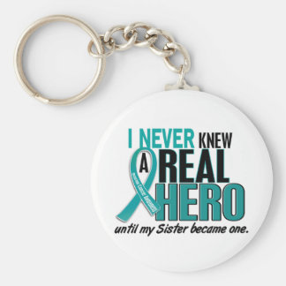Ovarian Cancer NEVER KNEW A HERO 2 Sister Keychain