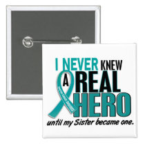 Ovarian Cancer NEVER KNEW A HERO 2 Sister Pinback Button