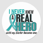 Ovarian Cancer NEVER KNEW A HERO 2 Sister Sticker