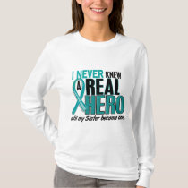 Ovarian Cancer NEVER KNEW A HERO 2 Sister T-Shirt