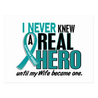 Ovarian Cancer NEVER KNEW A HERO 2 Wife Postcard