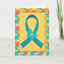 Ovarian Cancer or PCOS Teal Ribbon Awareness Card