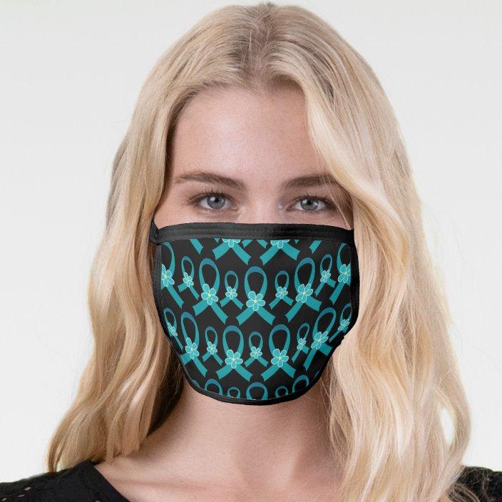 Ovarian Cancer Pcos Teal Awareness Ribbon Face Mask Zazzle Com
