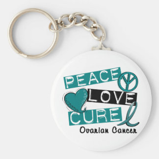 Ovarian Cancer PEACE LOVE CURE 1 Key Chains