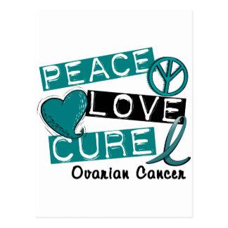 Ovarian Cancer PEACE LOVE CURE 1 Postcard