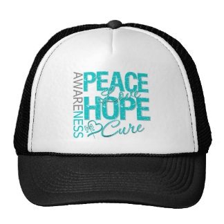 Ovarian Cancer Peace Love Cure Trucker Hat