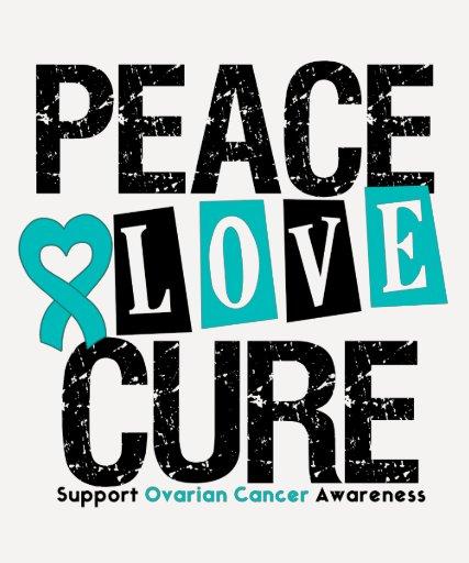 Ovarian Cancer Peace Love Cure T-shirts