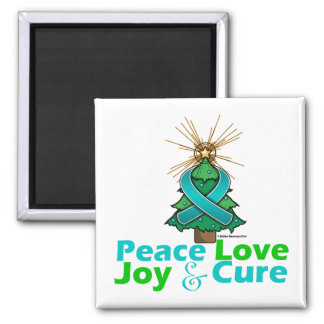 Ovarian Cancer Peace Love Joy Cure 2 Inch Square Magnet
