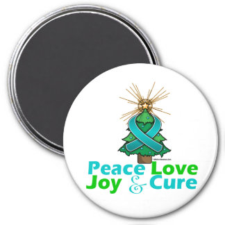 Ovarian Cancer Peace Love Joy Cure 3 Inch Round Magnet