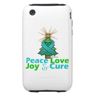 Ovarian Cancer Peace Love Joy Cure iPhone 3 Tough Covers