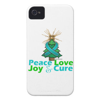 Ovarian Cancer Peace Love Joy Cure iPhone 4 Case-Mate Cases