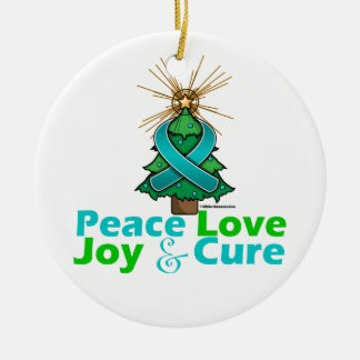Ovarian Cancer Peace Love Joy Cure Ceramic Ornament