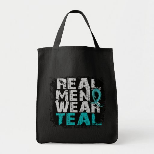 Ovarian Cancer Real Men Wear Teal Canvas Bags