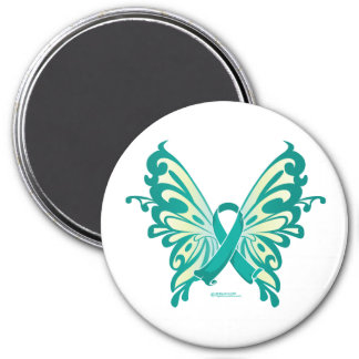 Ovarian Cancer Ribbon Butterfly 3 Inch Round Magnet