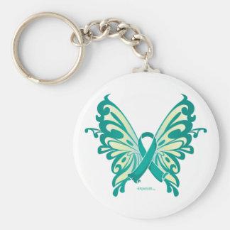 Ovarian Cancer Ribbon Butterfly Basic Round Button Keychain