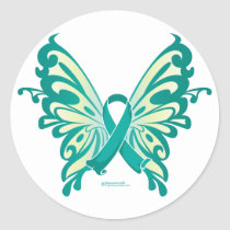 Ovarian Cancer Ribbon Butterfly Classic Round Sticker