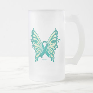 Ovarian Cancer Ribbon Butterfly Frosted Glass Beer Mug