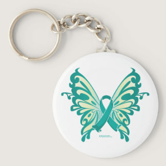 Ovarian Cancer Ribbon Butterfly Keychain