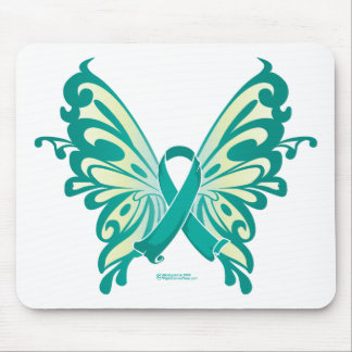 Ovarian Cancer Ribbon Butterfly Mouse Pad