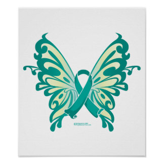 Ovarian Cancer Ribbon Butterfly Poster