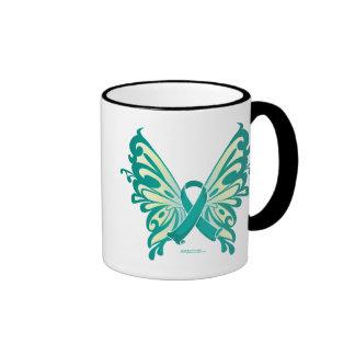 Ovarian Cancer Ribbon Butterfly Ringer Mug