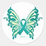 Ovarian Cancer Ribbon Butterfly Sticker