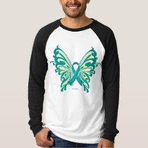 Ovarian Cancer Ribbon Butterfly T-Shirt