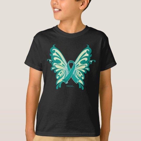 Ovarian Cancer Ribbon Butterfly T-Shirt
